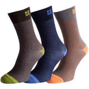 Funky Ribbed Striped Silver Socks
