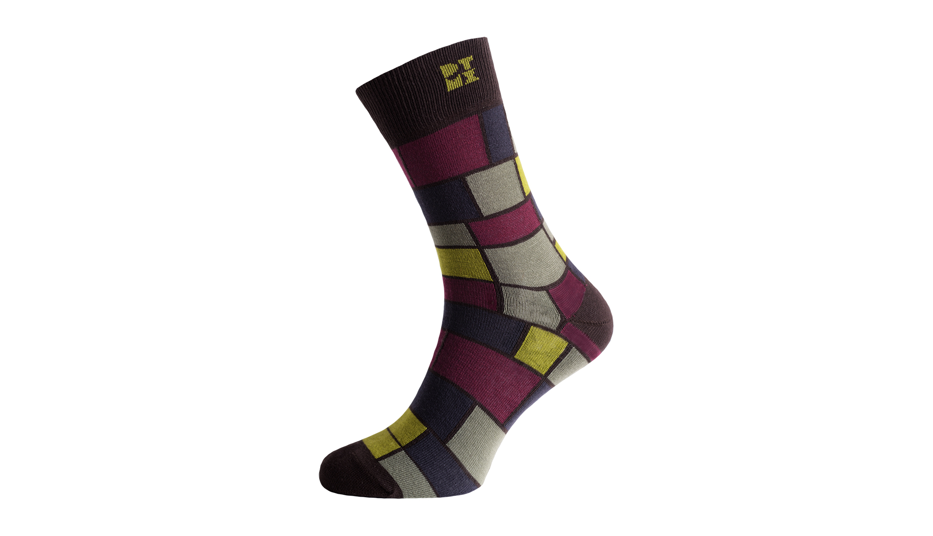Mondrian Mania Midnight Silver Odorless Socks