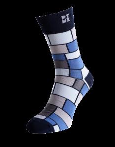 Funky Mondrian Striped Silver Socks
